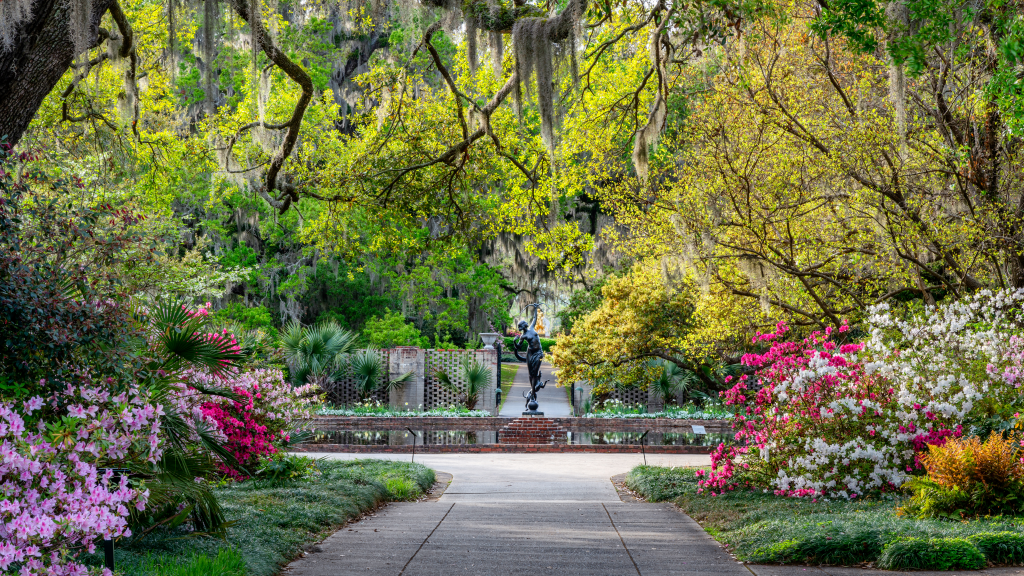 a picture of Brookgreen Garden which is an amazing nature park to stop by during your drive.