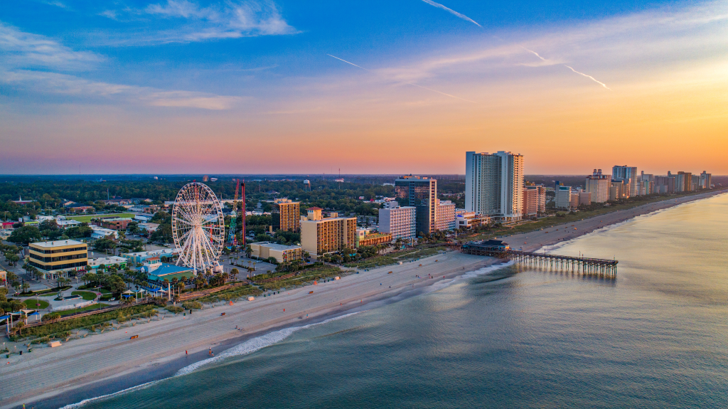 a picture of Myrtle Beach showing Coastal Highway Route 17 that you would drive to a fishing charter